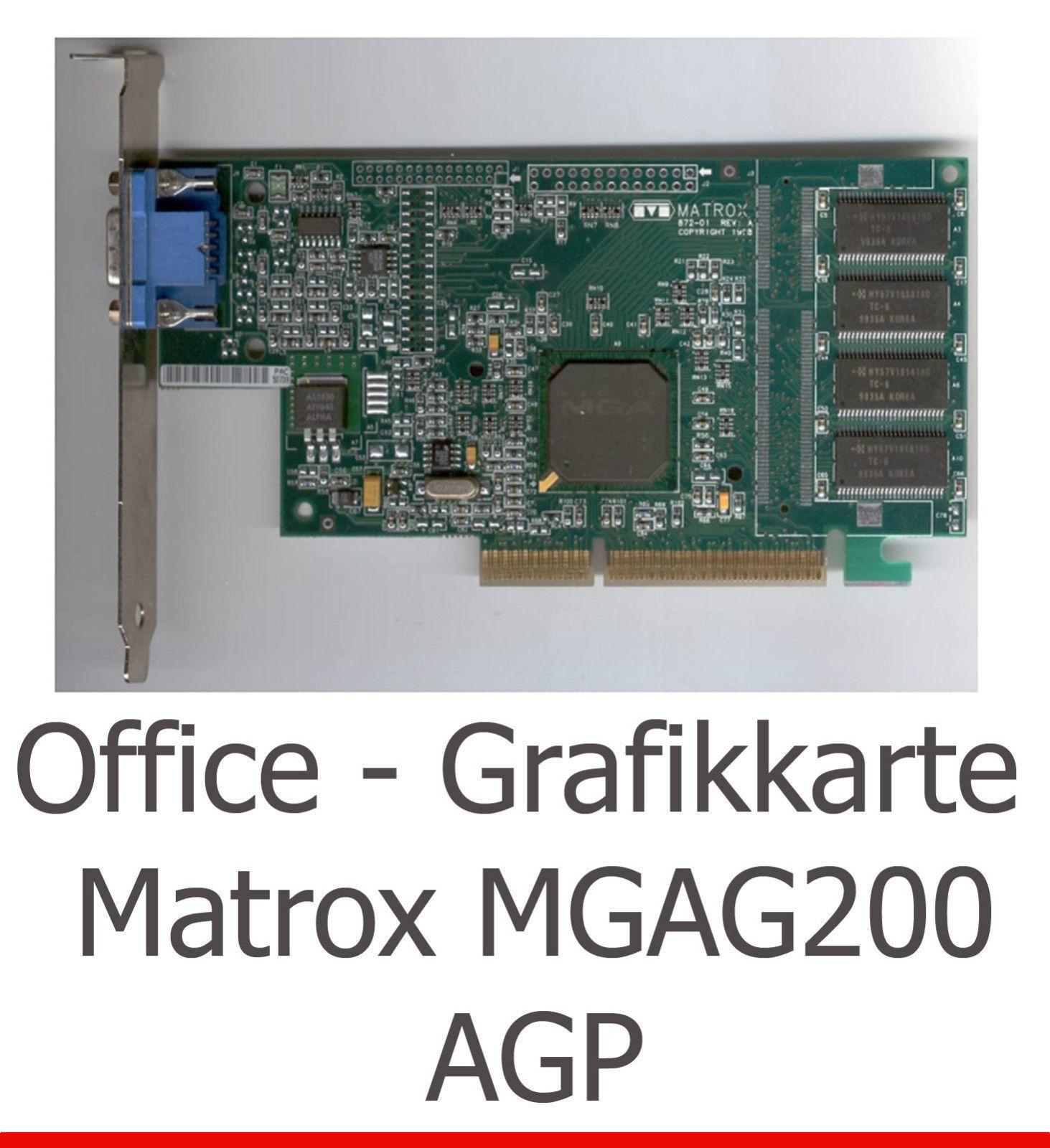 Silent Office Graphic Card 3D Matrox G200 AGP For Windows 2000 7 XP Vista Linux