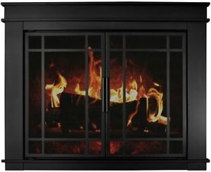 Pleasant Hearth Fireplace Glass Screen Doors Fillmore Large Heavy