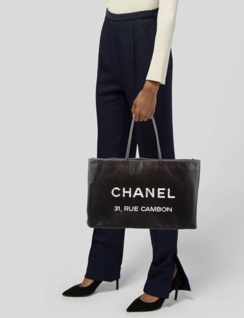 Chanel Essential Logo Large Shopping Tote Black Leather Karl Lagerfeld