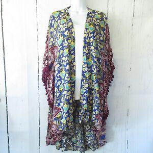 New-Gigio-By-Umgee-Kimono-M-Medium-Floral-Mixed-Print-Tassel-Trim-Boho-Peasant