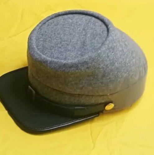 American Civil War Confederate Grey Union Wool Kepi Peak Cap Size S-2XL