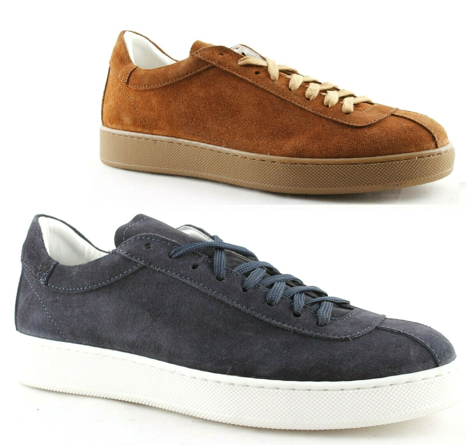 Sneakers shoes Man Low Suede bluee White Brown Leather Made in