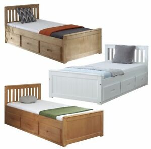 Details About Storage Bed With Drawers White Wooden Pine Single Bed