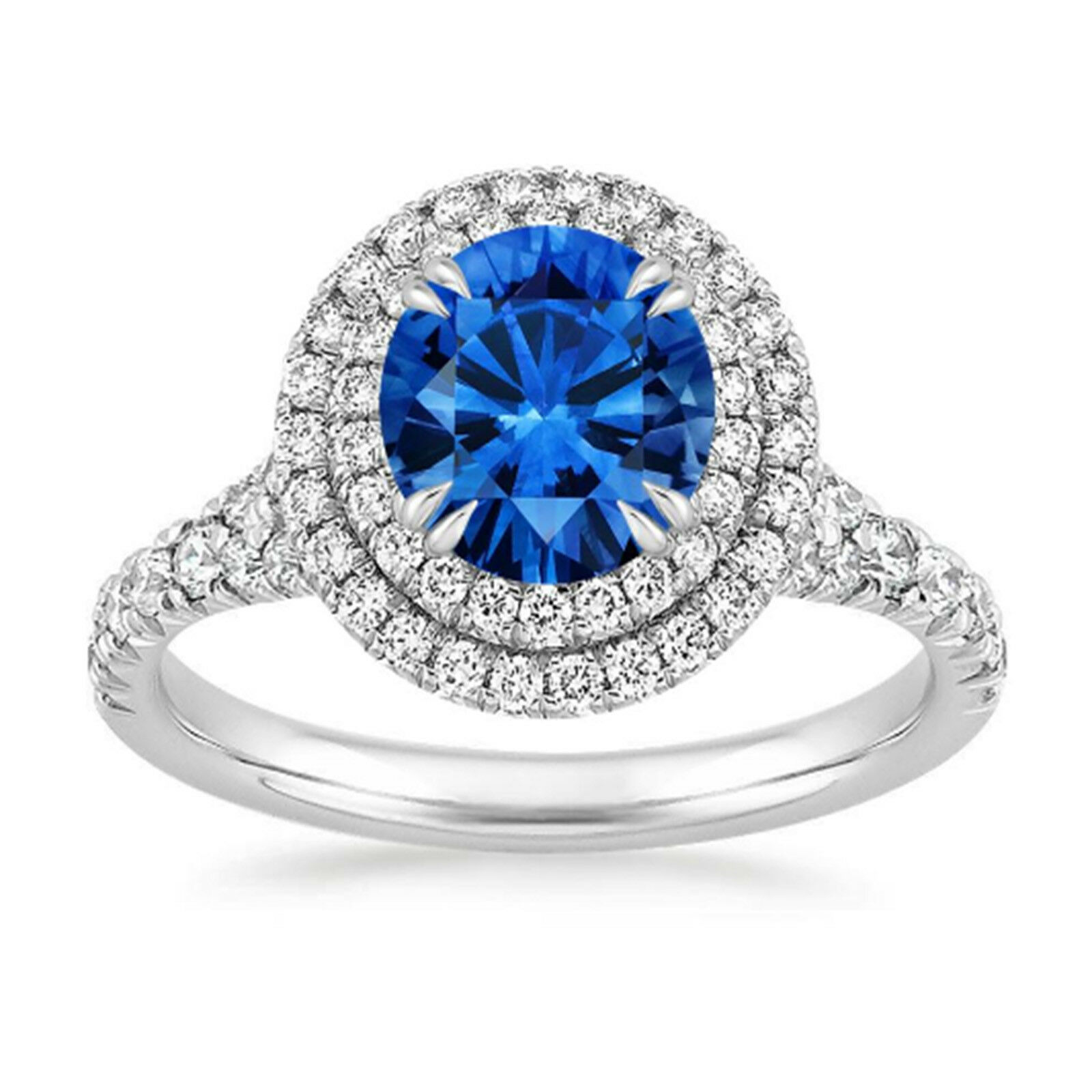 14K White gold Rings 1.65 Ct bluee Sapphire Diamond Engagement Ring Size 6 7.5