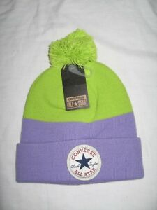 738827508e586 BNWT - CONVERSE All Star Bobble Beanie Hat Frozen Lilac Lime Green ...