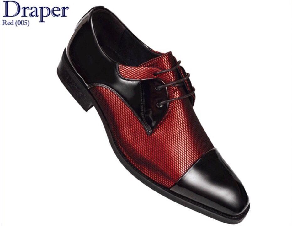 Mens AMALI Red Fishnet Tuxedo Oxford Dress shoes Black Patent Cap Toe Draper-005