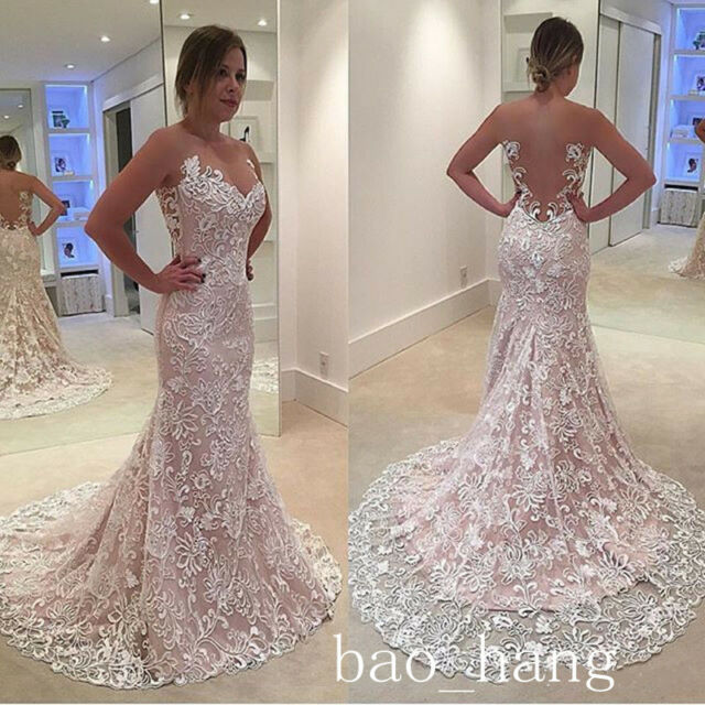 New Sheer 3D Lace Mermaid Wedding Dresses Backless Court Train Bridal Gown Pink