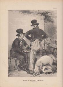 Détails sur Phototypie LALAISSE costumes bretons pl91 HOMMES DES ENVIRONS  DE CHATEAUBRIANT