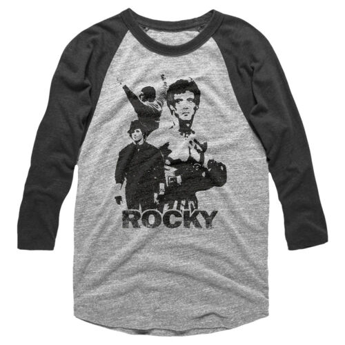 Rocky Balboa Boxing Stance Men/'s Raglan Shirt Stallone Vintage Long Sleeve Fight