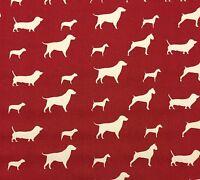 Designer Dog Party Silhouette Red Dachshund Designer Cotton Fabric By Yard 54w