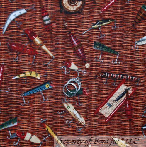 BonEful Fabric FQ Cotton Quilt Brown Fly Fish Lure Hook Basket Camp Lodge Basket