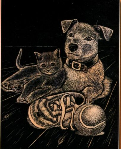 Kratzbild Kratzbilder Hund und Katze Goldfolie Größe 20cm x 25 cm Komplettset