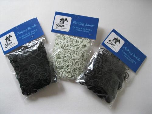 Elico caoutchouc tressage bandes pour crinière & queue 500 pcs noir blanc marron (ss)