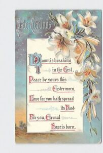 ANTIQUE-POSTCARD-EASTER-GREETINGS-LILIES-SILVER-EMBOSSED