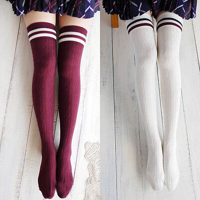 New College Wind Thigh High Socks Stockings Over The Knee Girls Womens Tide