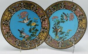 """MEIJI 1870 CLOISONNE CHARGERS  (SET OF 2)  12.25"""""""
