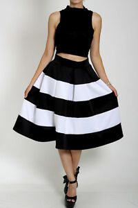 NEW HIGH WAIST BOX PLEATS STRIPED FULL SKIRT MIDI Knee Length ...