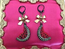 Betsey Johnson Vintage Picnic Lucite Crystal Watermelon Fruit Gold Bow Earrings