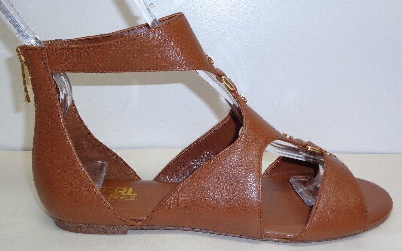 Karl Lagerfeld Paris Größe 9.5 M BOULOI Braun Leder Sandales NEU Damenschuhe Schuhes