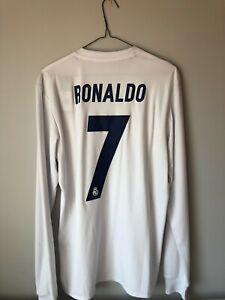 official photos f171d e536a Details about Authentic Real Madrid Parley Long Sleeve Jersey with Ronaldo  printing Size S