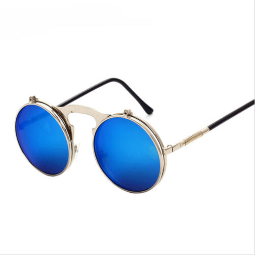 Retro Vintage Steam punk Round Sun Glasses Flip up Sunglasses Spring  U9