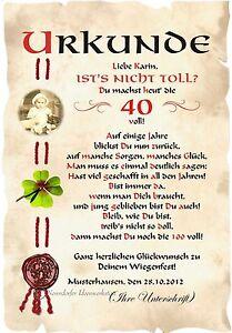 Das Bild Wird Geladen Urkunde 40 Geburtstag DIN A4 G3