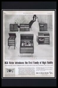 1955-RCA-Victor-Phonograph-Framed-11x17-ORIGINAL-Vintage-Advertising-Poster