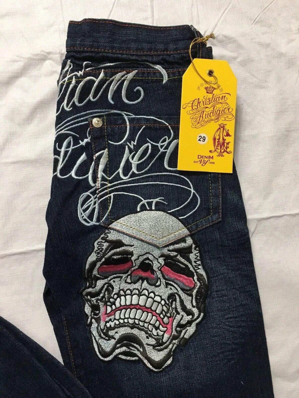 Christian Audigier Jeans Womens Size 29 Skull Straight Leg  Distressed NWT