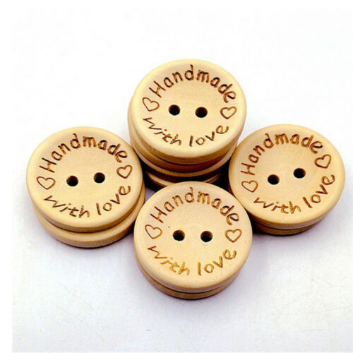 """100Pcs Wooden /""""handmade with Love/"""" Buttons Craft Sewing Closures Connectors Gift"""