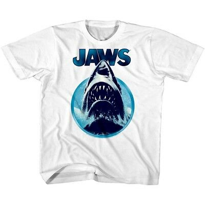 Jaws Shark Attack Retro Stripes Kids T Shirt Boy Girl Toddler Baby Youth Top
