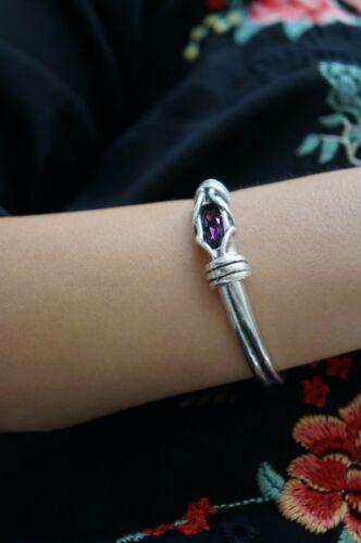 NEW Uno De 50 Silver Fuchsia Elements Crystal MUKURU Cuff Bangle Bracelet S M