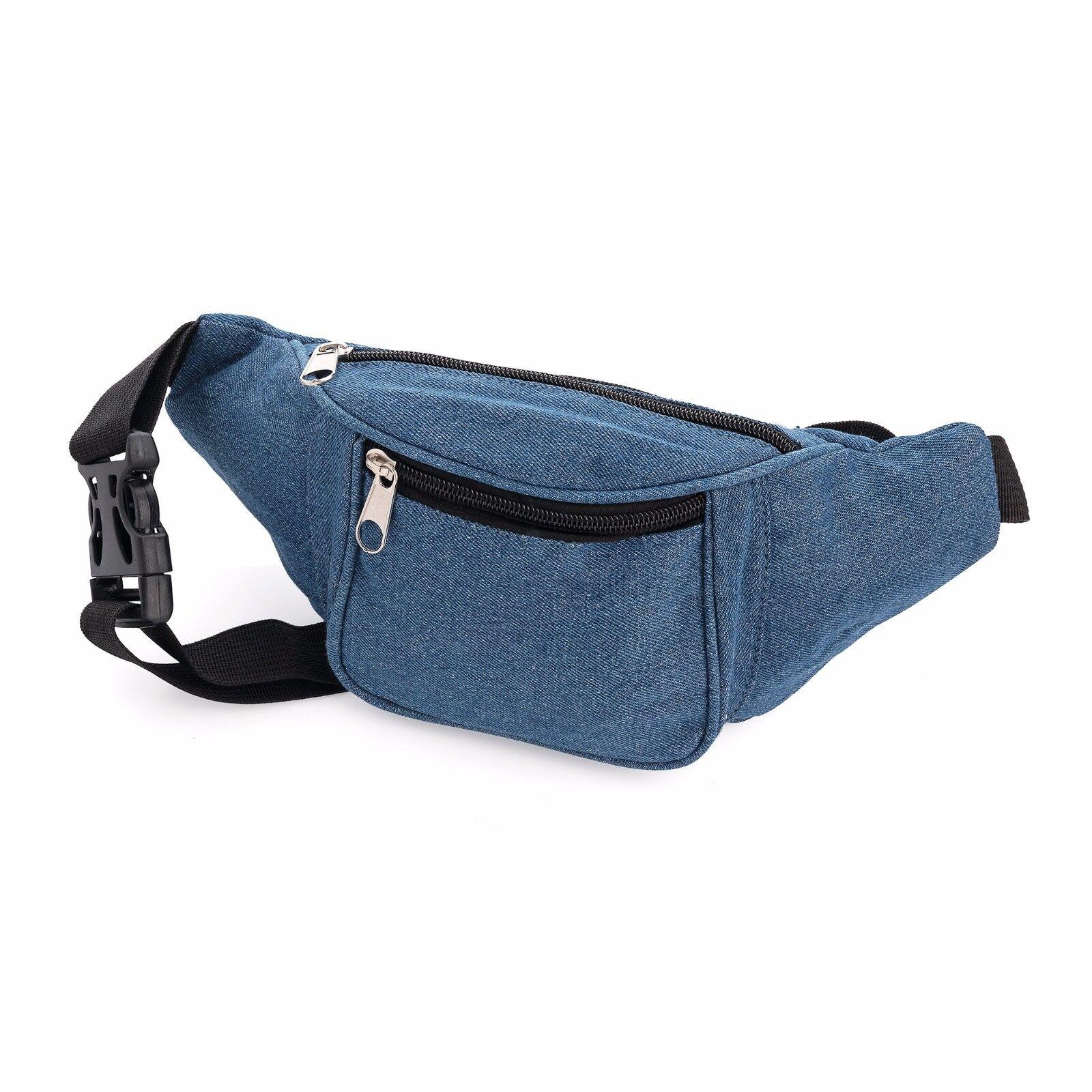 Medium Blue Denim Toile Bum Sac Fanny Pack Pack Pack Festival Vacances Argent Accessoires cc9dc9