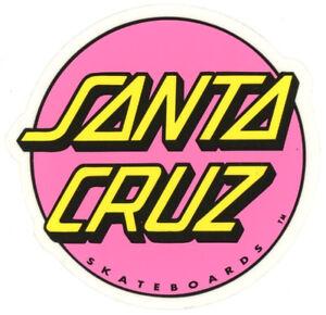 Santa-Cruz-Skateboard-Sticker-Logo-Schriftzug-Rosa-Gelb-Transparent-8cm-Rund