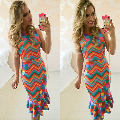 Sexy Women Casual Slim Mini Dress Sleeveless Party Evening Cocktail Colourful