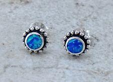 EXOTIC 925 STERLING SILVER BLUE GREEN OPAL STUD EARRINGS  style# e1071