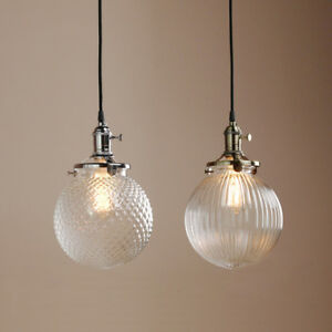Details About Home Decor Retro Pendant Lamp Vintage Gl Globe Shade Ceiling Light