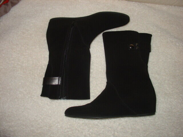 STUART WEITZMAN BLACK GORE GORE GORE -TEX ANKLE BOOTS LOW WEDGE SHOES sz 11 N 103971