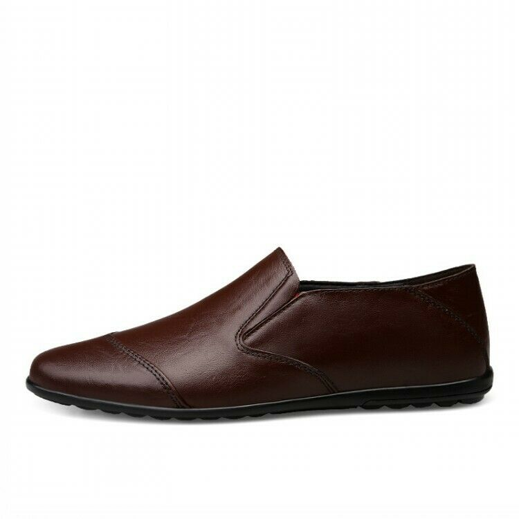 Mens Dress Formal Cow Leather Solid color Round Toe Business Flats Leisure shoes