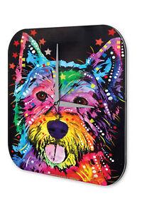 Orologio da parete cani razza terrier dipinto acrilico dekouhr VINTAGE  </span>