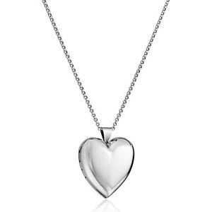 Polished Heart Locket Pendant in Sterling Silver, 30