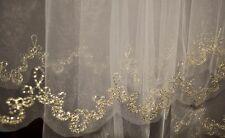 Neu Braut  Schleier IVORY mit  GOLD-faden  Stickerei