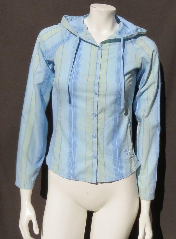 MOUNTAIN HARDWEAR Women's Blue Stripe Organic Cotton Hoodie Shirt Top size 2