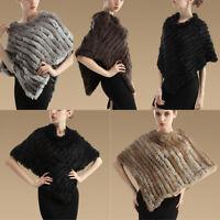 Womens Rabbit Fur Wrap Shawl Scarf Cape Poncho Cloak Scarf Outwear Coat Vest New