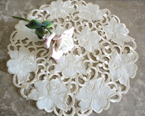 """Vanilla Rose Lace  15/""""  Doily Cream Flower Floral"""