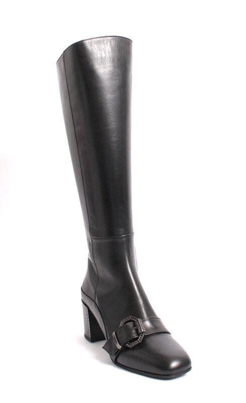 GIBELLIERI 3386 de cuero negro con hebilla de metal metal metal Knee High bota 37.5 US 7.5  100% precio garantizado