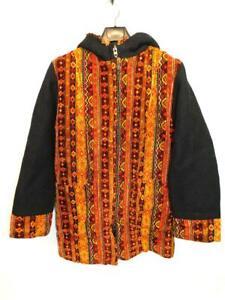 Vintage-60s-L-Black-Orange-Red-Stripe-Tapestry-Coat-Insulated-Hippie-Zip-Hood