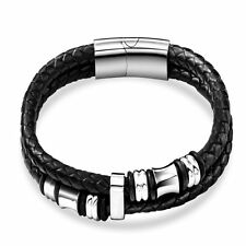 Men's Titanium Steel Genuine Leather Bracelet Braided Silver Hoops Bangle