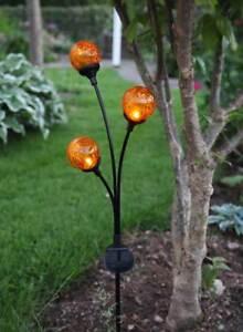 Solar gartenstecker metall bruchglas 3 leds amberfarben for Gartendeko solar