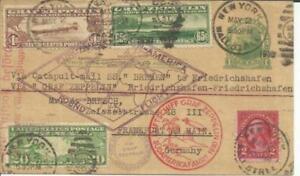 US Sc#C13,#C14,#C9 2cWash-#UX27 postal card-NEW YORK MAY/2/1930-STEAMSHIP