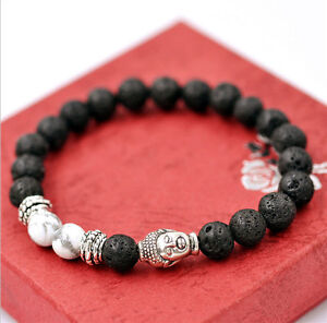 Men-039-s-Lava-Rock-and-White-Howlite-Stone-Silver-Buddha-Head-8mm-Beads-Bracelet